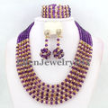 Purple African Beads Jewelry Set Crystal Beads Necklace Set African Jewelry Set Crystal Jewelry Set    W7270