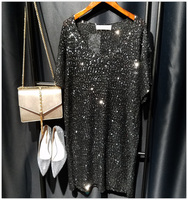 Sequins Shirt Dress Oversize Sexy Party Short Dress 2017 Spring Summer New Arrivals Silver Gold Black