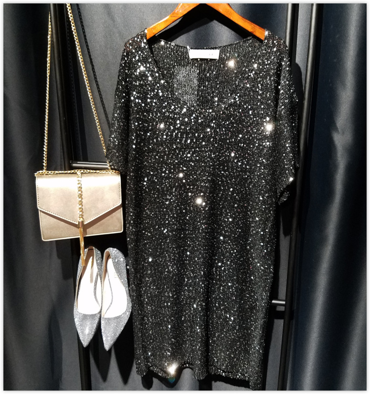sequins shirt dress oversize sexy party short dress 2019 spring summer new arrivals silver gold black silver pink green color