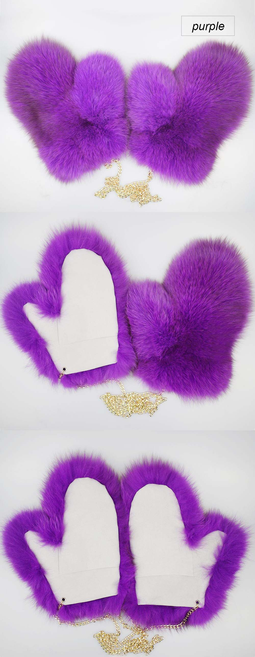 fox fur gloves color purple