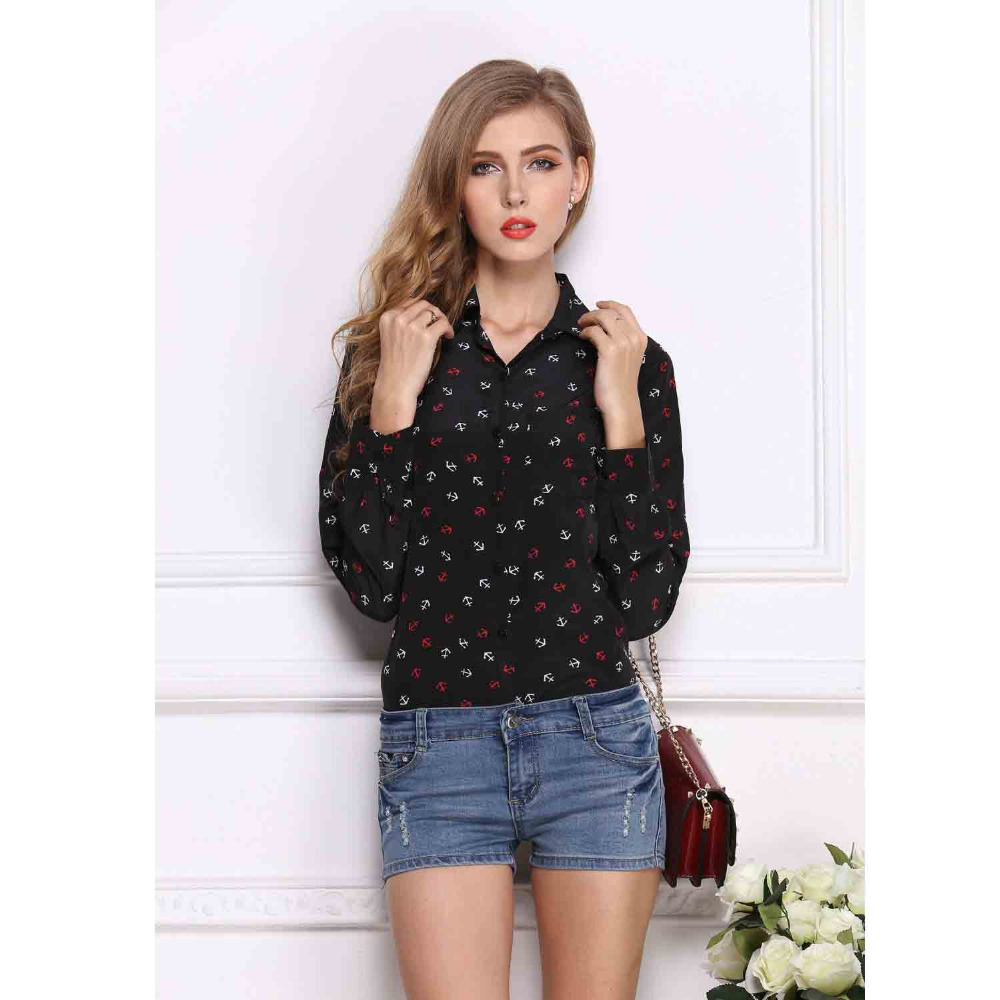 2017 Fashion Turn down Collar Leopard Print Chiffon Blouse Ladies ...
