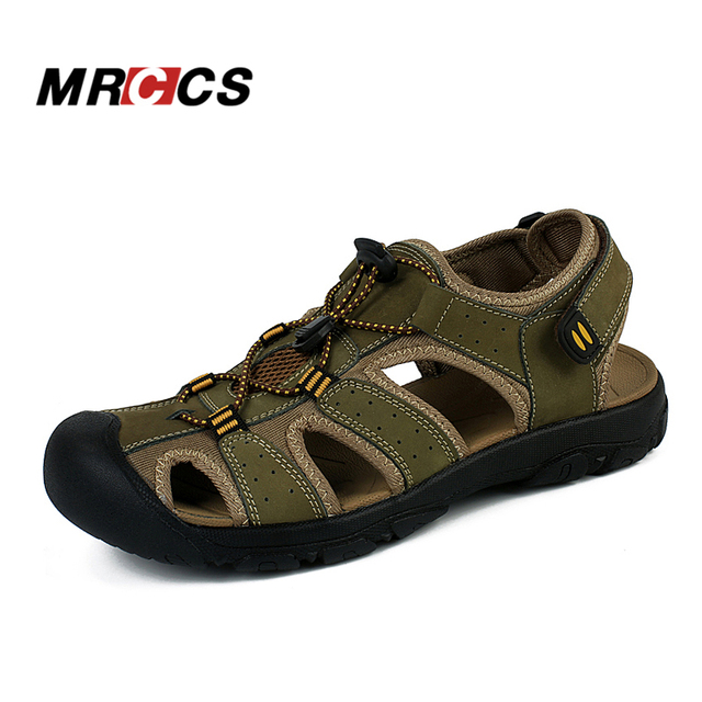 5307ec1b1e1b7a MRCCS Men s Summer Cool Sandals Non Slip Genuine Leather Soft Rubber Sole  Beach Shoe Quality Casual Shoes Large Size 11