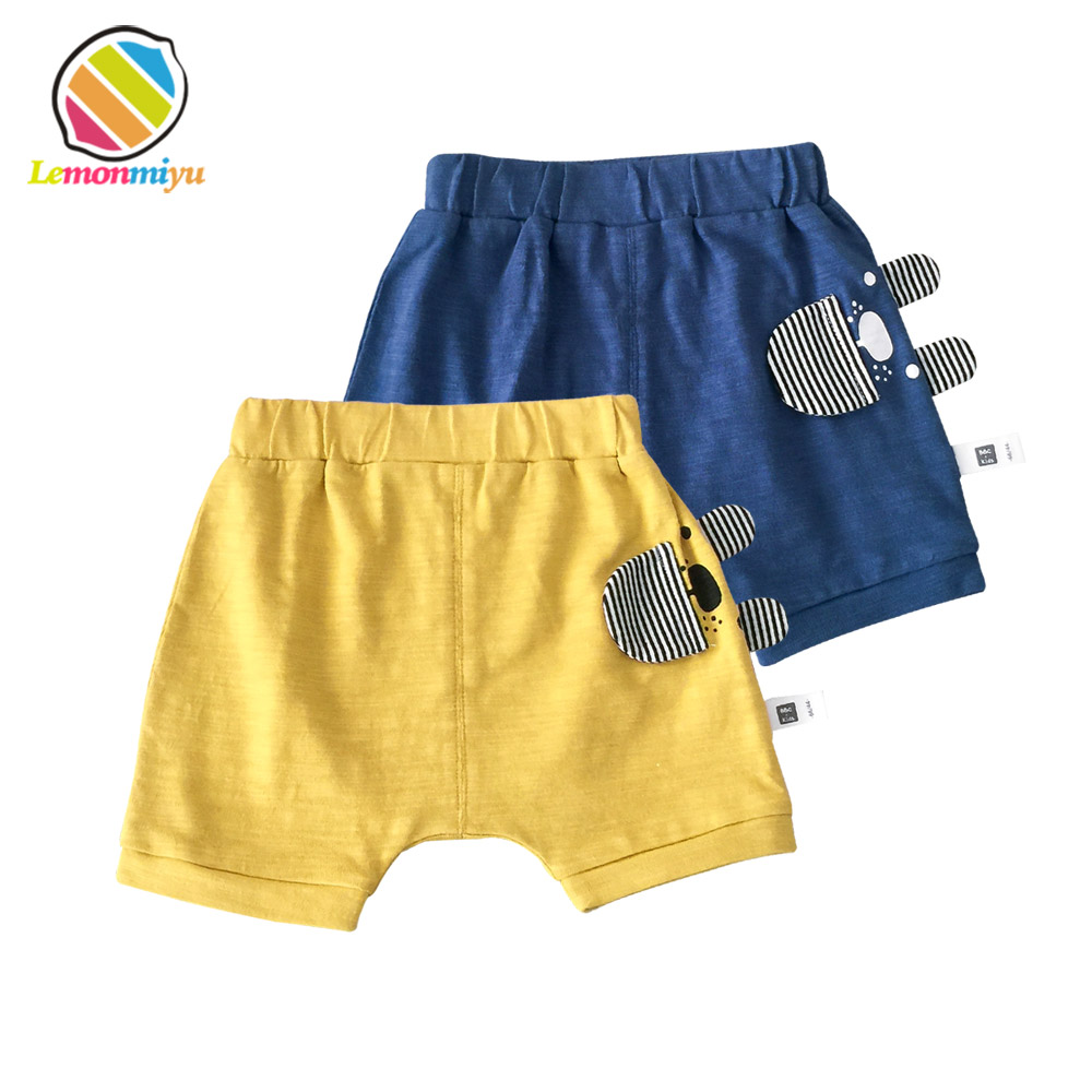 Lemonmiyu Cotton Baby Shorts Cartoon Summer Bloomer Elastic Waist Bear Beach Short Trousers Toddler Casual Short Pants Bottoms green drawstring waist short tracksuit bottoms