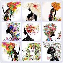 5D DIY Diamond Painting Flower Girl Head Portrait Mosaic Cross Stitch Needlework Home Decorative