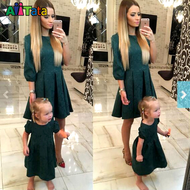 font b Mother b font daughter dresses Fashion Family Matching Outfits Slim font b Mother