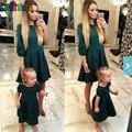 Vestidos de Moda A Juego de la Familia de madre e hija Trajes Delgado Madre e hija ropa de Bebé y de La Madre y Niños vestido de Otoño 2017