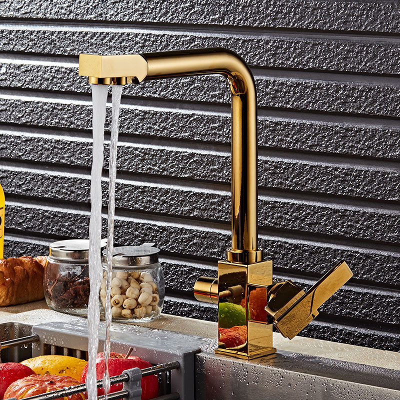 Kitchen Faucet Dual Function 3 Way Water Filter Gold/Black/Chrome/Oat Kitchen Faucet Marble Pure Water Kitchen Faucet Filler Tap