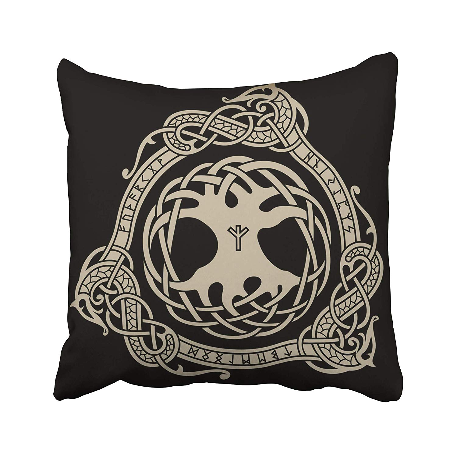 Pillow Case Cover Yggdrasil Design of Raven in Scandinavian Style Norse Runes Black Ancient Pillowcases Covers Two Sides Print
