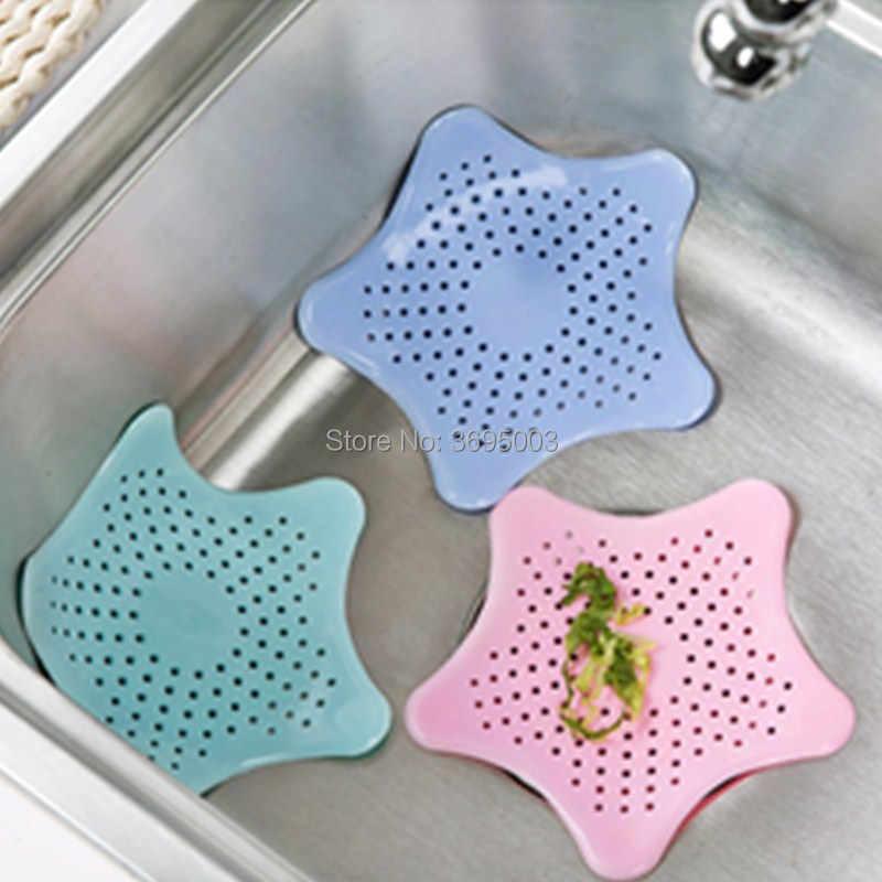 Nieuwe keuken siliconen vijfpuntige ster sink filter badkamer sucker floor drains douche haar riool filter straine colanders