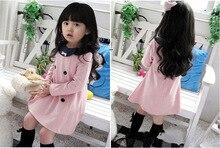 Envío Libre Venta Caliente de La Manera del Otoño del Resorte de la Muchacha de Manga Larga Cruzado Bowknot Vestido de Princesa de Color Rosa Y Azul Oscuro