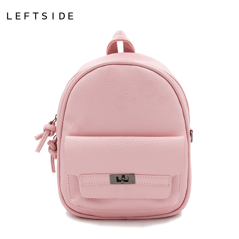 LEFTSIDE Back Pack Women PU Leather Backpack For School Teens Girls Bags Cool Small Bag Pack