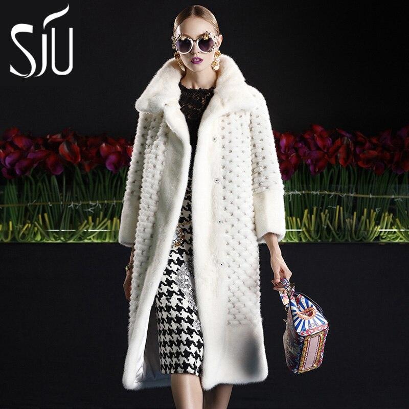 Sju marta veludo casaco de vison fêmea casaco de pele casaco de pele de médio-longo feminino casaco de peles casacos de inverno jaquetas mex