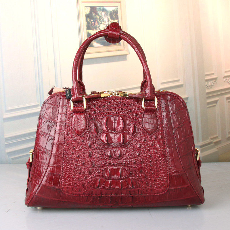 100 Genuine Alligator Skin Zipper Closure Lady Burgundy Handbag Crocodile Leather Women s Shell Purse Female