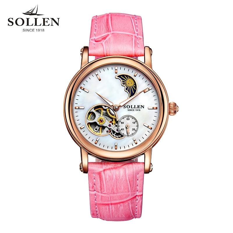 лучшая цена 2018 Solon original authentic watch ladies automatic high-end women's watch fashion hollow leather belt waterproof