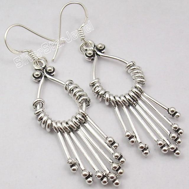 Chanti International Unusual Design Silver Ethnic Long Dangle Earrings 5 7 Cm Handmade
