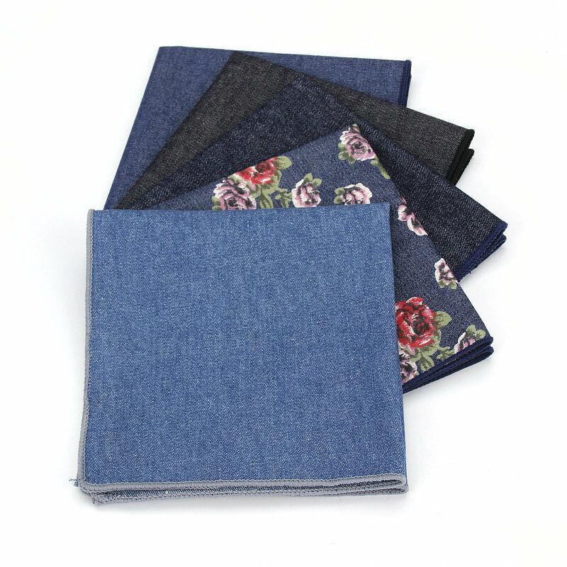 Men Fashion Cotton Denim Flower Pocket Square Handkerchief Wedding Hanky YFTIE0124