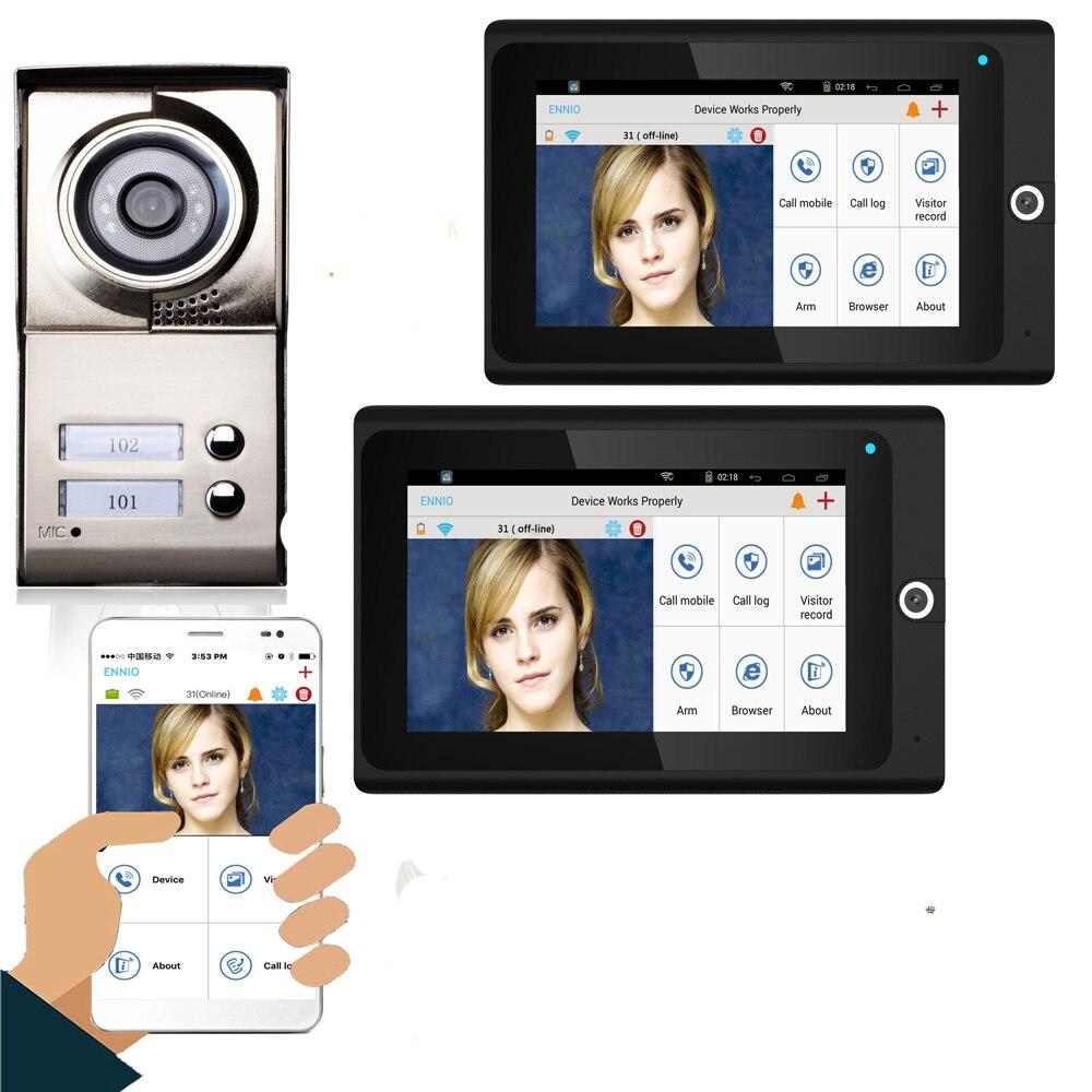 SmartYIBA 2 Apartments Wifi Video Intercom Smartphone App Remote Monitor For 2 Families/Floors Apartment Video Doorbell Camera