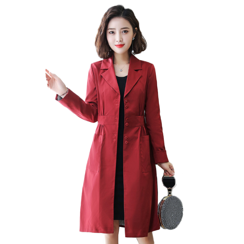 2019 Sprin New High Fashion Brand Women Classic Single Breasted   Trench   Coat Waterproof Raincoat Business Outerwear NW1642