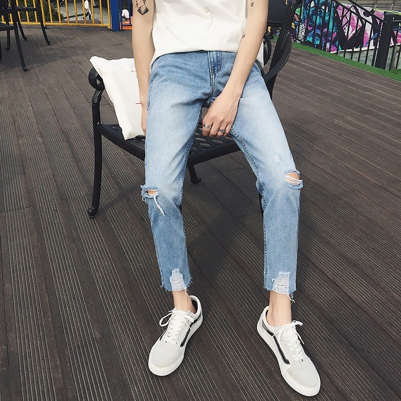 2018 Spring Summer New Mens Fashion Tide Classic Jeans Holes Stretch Ankle-Length Pants Loose Casual Blue Denim Trousers S-2XL