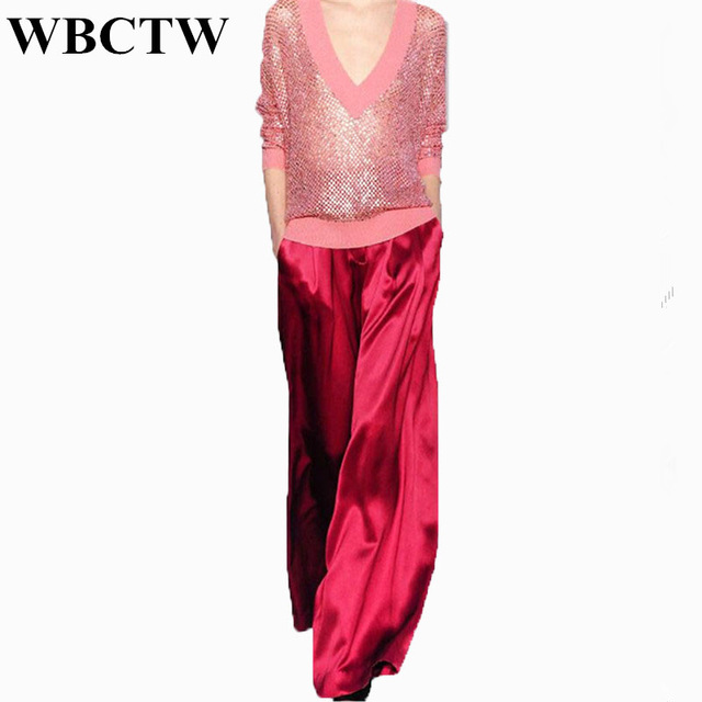 WBCTW Satin Loose Trousers Solid Casual Autumn Summer Plus Size Wide Leg Pants 2018 New Arrivals American Style Woman Pants