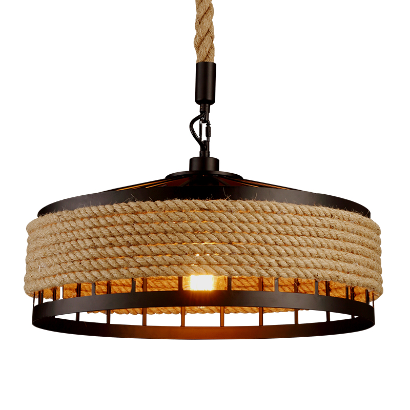 Kung Vintage Loft Industrial LED Pendant Light E27 Lamp Holder Dia45cm Rope Hanging
