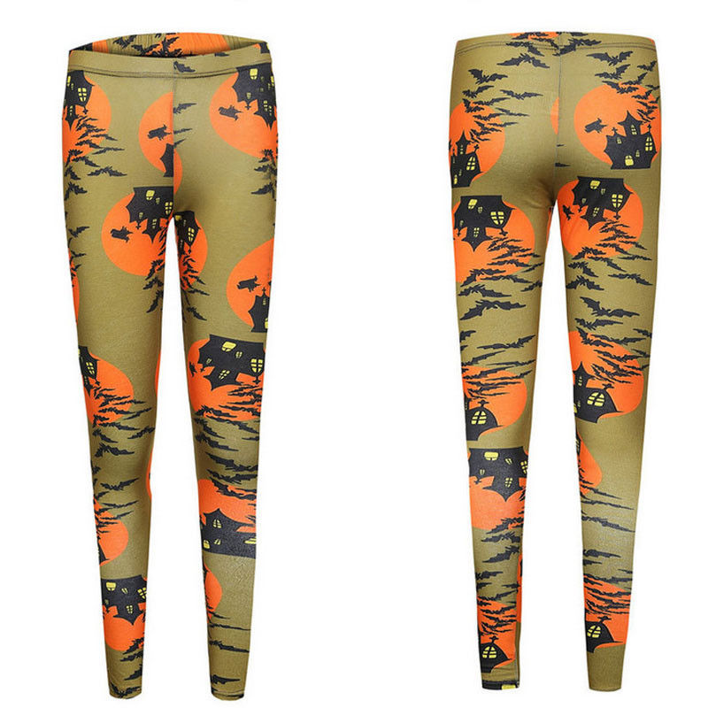 Leggings Halloween Day SEXY New Women's Legging Ghost Skull Pumpkin Palm Styles Digital Print Trousers Leggings