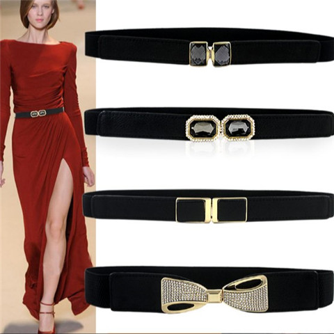 FREE SHIPPINGDouble Box Covered Buttons Elastic Waist Band Cummerbund Candy Color All-match Belt Decoration Female