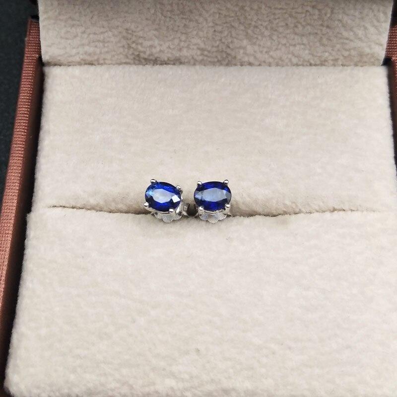 LANZYO 925 argent naturel saphir boucles d'oreilles mode bijoux anniversaire plante femmes cadeau en gros e040501agl