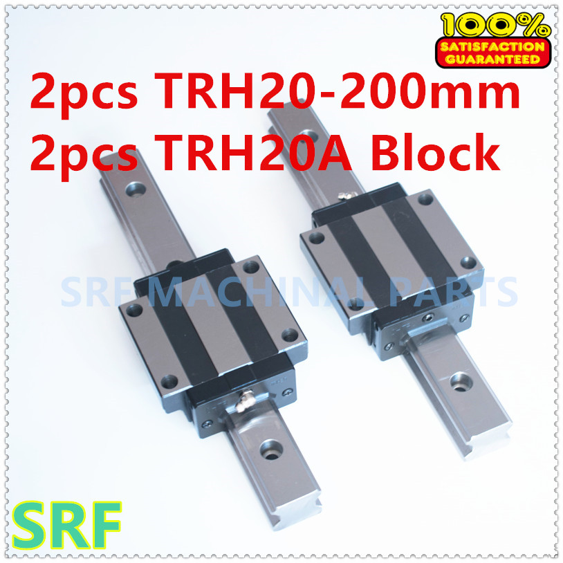 High quality 2pcs  Linear guide rail TRH20 L=200mm with 2pcs TRH20A Flange block for CNC high precision low manufacturer price 1pc trh20 length 1000mm linear guide rail linear guideway for cnc machiner