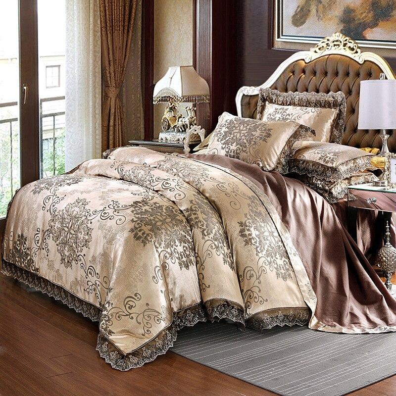 Jacquard de luxo Conjunto de Cama King Size Rainha Roupa de Cama Folha de Cama de Algodão Capa de Edredão de Seda Laço de Cetim Conjunto de cama Fronhas