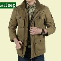 Plus Size 8XL Loose Men Jacket Long New 2015 Brand AFS Jeep 100 Nature Cotton Warm