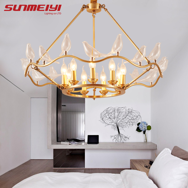 Creative Bird Copper Chandeliers For Living Room Bedroom New Art Deco America Chandelier Modern Led Lighting