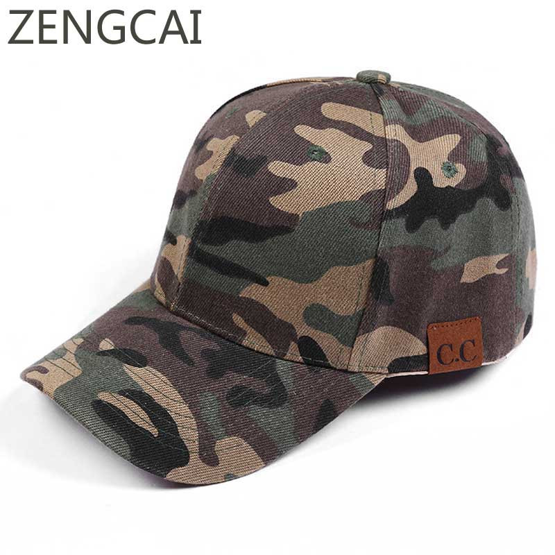2018 CC Snapback Baseball Cap Mens Army Camouflage Hats For Women Trucker Caps Adjustable Outdoor Hunting Sports Dad Hat Casual 2018 cc denim ponytail baseball cap snapback dad hat women summer mesh trucker hats messy bun sequin shine hip hop caps casual