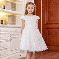 2016 Nova Verão Vestido Da Menina Do Laço Do Bebê Menina Vestido de Princesa 4-12 Anos Crianças Roupas de Casamento vestido de Baile Bege partido