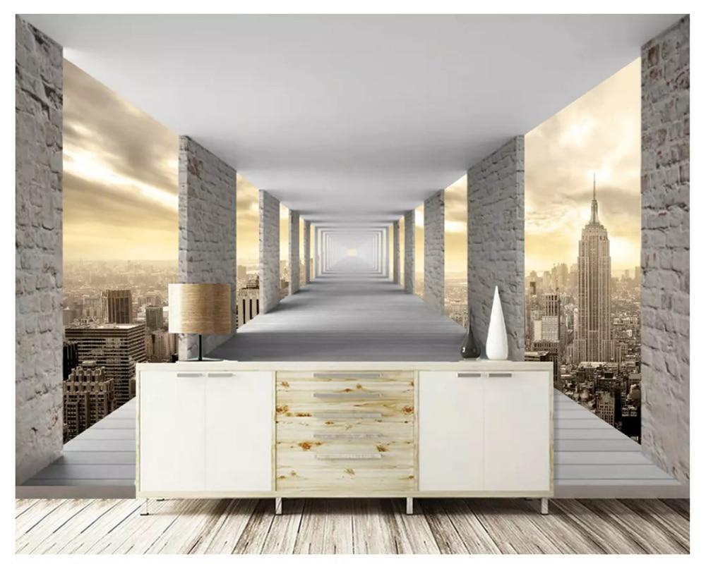 Beibehang moderno clássico minimalista geométrico arquitetura urbana decorativo fundo papel de parede 3d