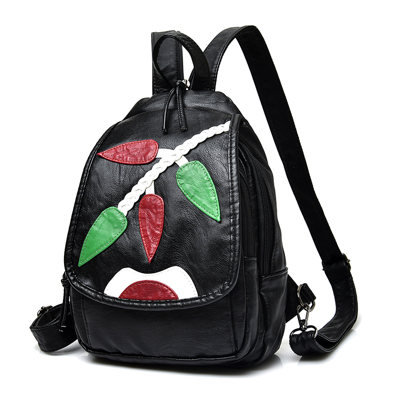Cartoon Black Backpack Women Soft Washed Leather School Bags For Girls Fashion Embroidery Character Shoulder Bag
