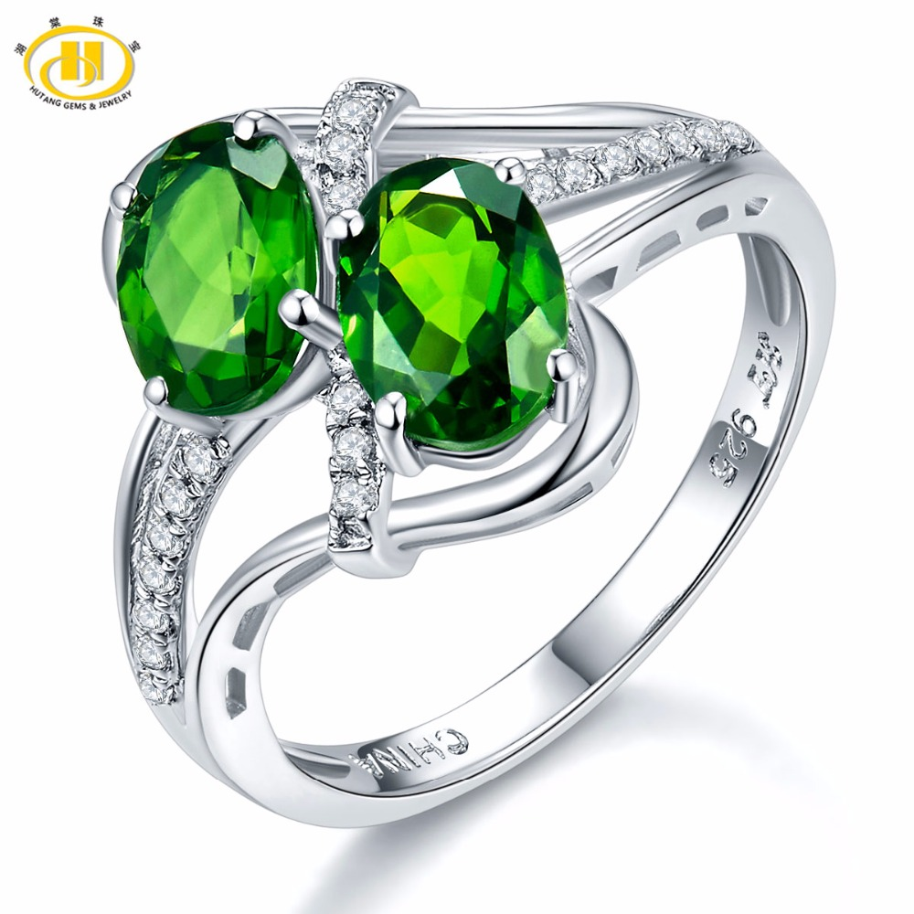 Hutang Stone Jewelry 1.57ct Natural Chrome Diopside & White Topaz Ring Solid 925 Sterling Silver Womens Gemstone Fine JewelryHutang Stone Jewelry 1.57ct Natural Chrome Diopside & White Topaz Ring Solid 925 Sterling Silver Womens Gemstone Fine Jewelry