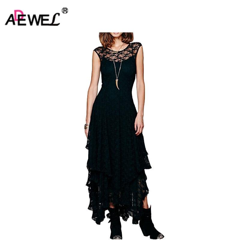 ADEWEL 5 Colors Fashion Sleeveless Women Maxi Long Lace Dress Irregular Double Hem Drapped Summer Dresses Robe Dentelle S-XL