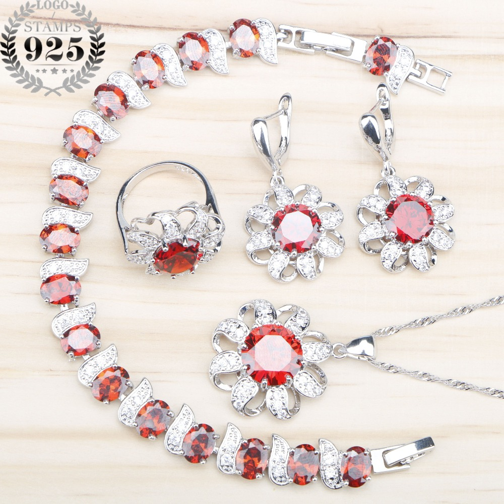 925 Sterling Silver Red Zircon Jewelry Sets Women Bracelets Necklace&Pendant Earrings Rings Set With Stones Jewelery Gift Box
