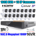 Full HD 16CH NVR Kit P2P ONVIF 2.0MP IP Camera 1080P Outdoor Color Image Night Vision + H.264 HDMI NVR Recorder Motion Detect