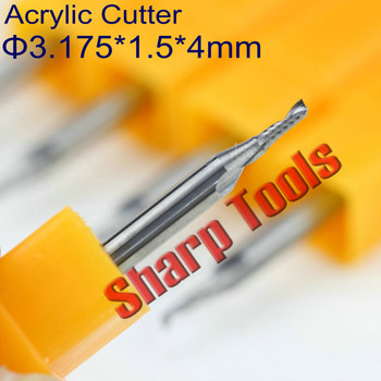 Professional 3.175x1.5x4mm Single Flute End Mill Milling Cutter Tungsten Carbide Router Bit CNC Tool to Cutting Acrylic Engraver