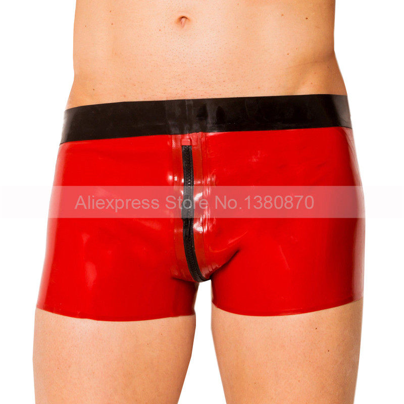 Red and Black Rubber Latex Man Panties Shorts with Crotch Zip S-LPM074