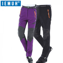 IEMUH Brand Man Women Winter Fishing Waterproof Camping Trekking Fleece Hiking Pants Climbing Skiing Softshell Trouser Travel