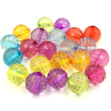 10Pcs Mixed Colors Spacer Beads Round Faceted Acrylic Perles Jewelry Making Findings 20x20mm