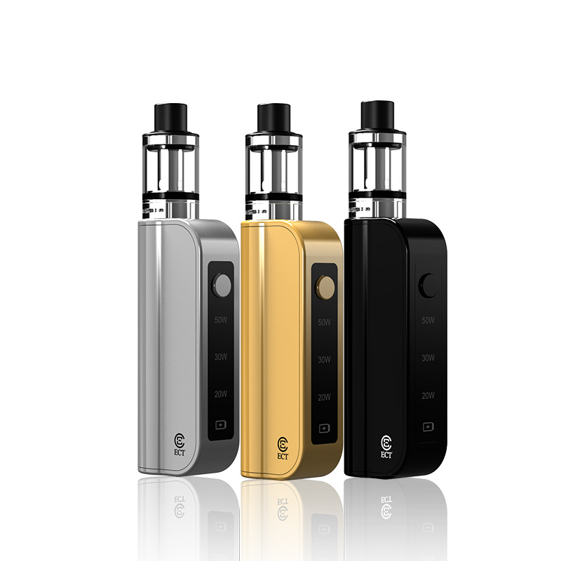 ECT Traveler C50 Mod Electronic Cigarette Kit Adjustable 20W/30W/50W Starter Vaper 1800mAh Battery 510 Thread 2ml TankECT Traveler C50 Mod Electronic Cigarette Kit Adjustable 20W/30W/50W Starter Vaper 1800mAh Battery 510 Thread 2ml Tank