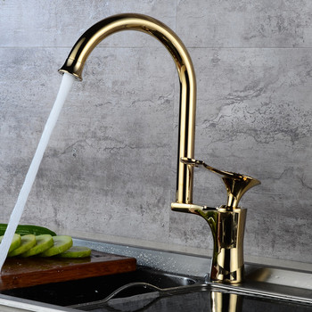 LIUYUE Kitchen Faucets Brass Luxury Rose Gold Delicacy Handle Pattern Design Kitchen Faucet Cold Hot Water Crane Sink Mixer Taps