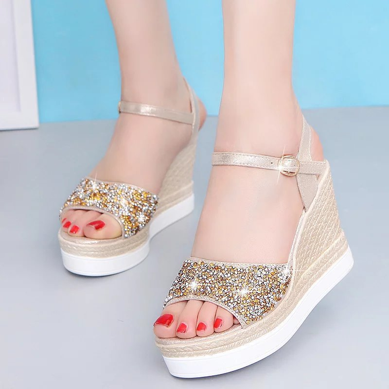 2018 summer muffin, fish mouth, womens sandals, high heels and waterproof table sequins womens shoes.