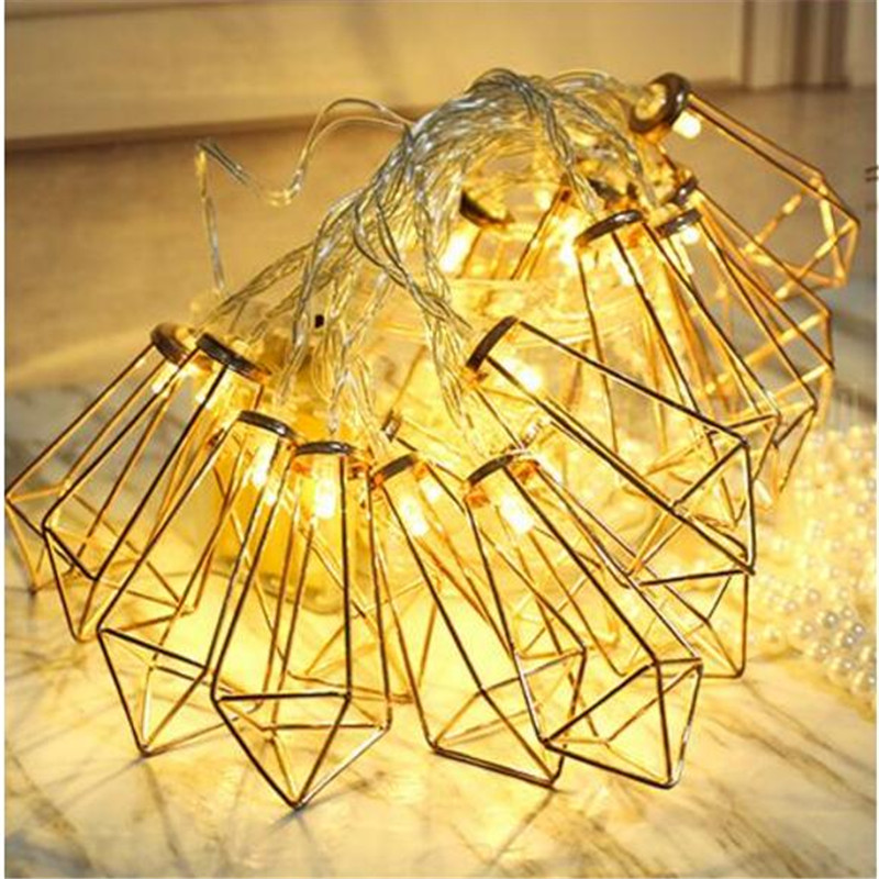 Party Decor Gold Diamond shape Battery powered Flashing String Lights, Festival Christmas party light 20 leds