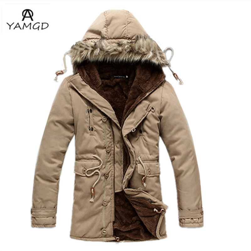 Thickening 2016 men s fashion design hooded pure color cotton Dust coat Men s winter wool