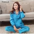 Women Silk Pajama Sets Ladies Pyjamas Stitch Thin Sleepwear Silk Solid luxurious Women's Sleep Lounge Pajamas